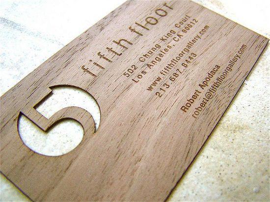 die-cut wooden business card