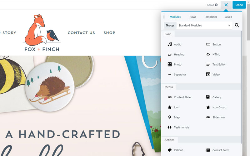 With the premium version of Beaver Builder there are loads more features, like buttons, contact forms, social icons, pricing tables, photo galleries and slideshows, testimonials, and much more.